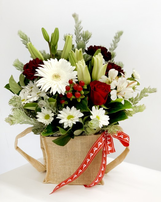 Christmas styled flowers delivery